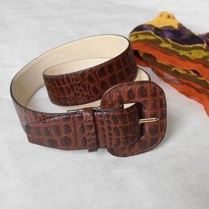 Vintage genuine reptile leather wide brown belt